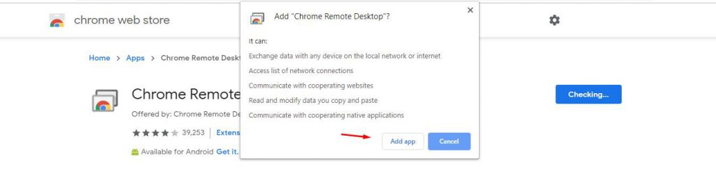 Add Remote Desktop Extension