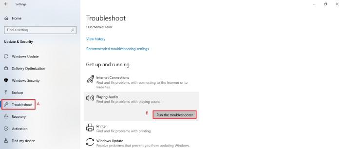 Audio Troubleshooter in Windows 10