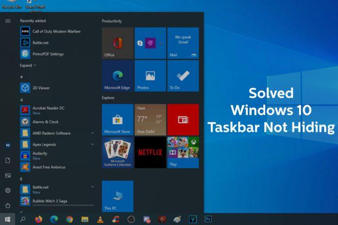 Fix Taskbar not hiding
