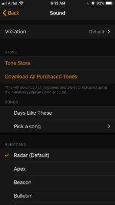 Sound Setting in Alarm App