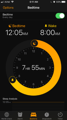 Bedtime in iOS