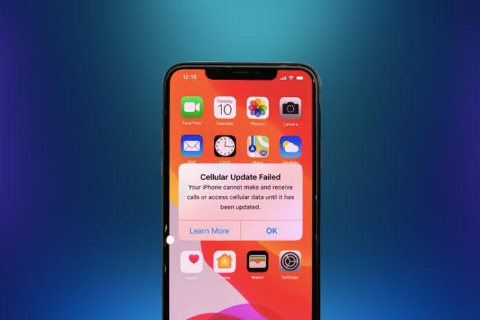 iPhone Cellular Update Failed