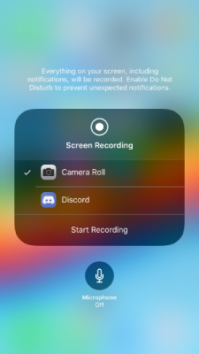 iPhone screen record option
