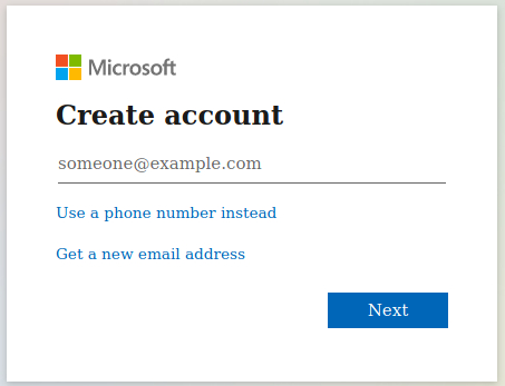 Hotmail Account Sign up process