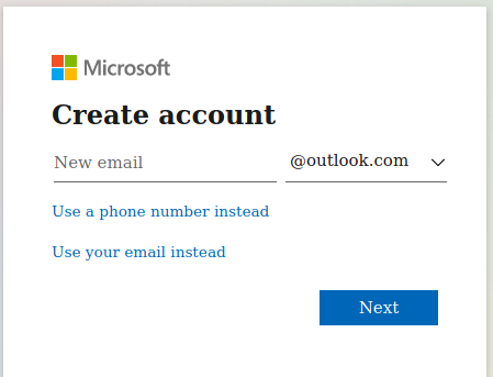 Enter New Hotmail Email