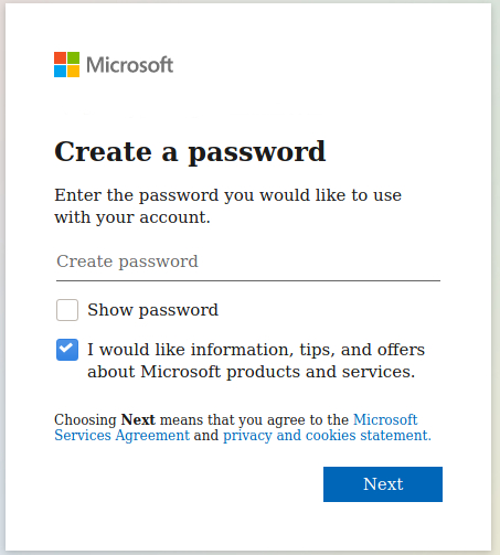 Password for New Hotmail Account