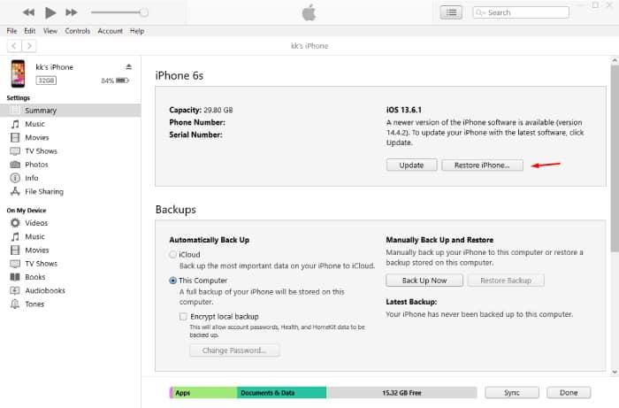 Restore iPhone via iTunes