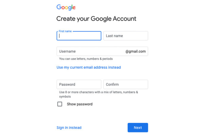 Create a Gmail Account Online
