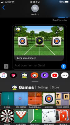Send Game invitation In iMessage