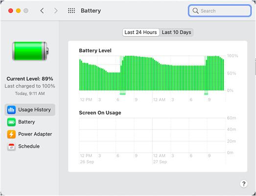 Battery Status in MacBook