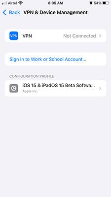 VPN Option in iOS 15