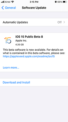 iOS 15 public beta Download and Install