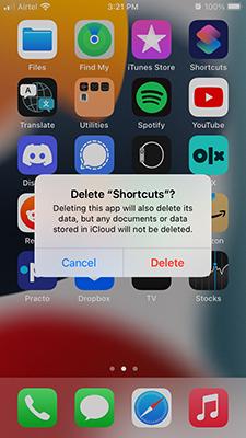 Delete Shortcuts App on iPhone