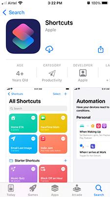 Reinstall Shortcuts App