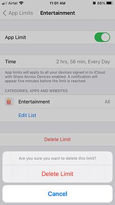 Delete App Limit