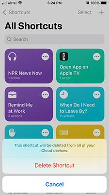 Delete Shortcuts in iOS 15