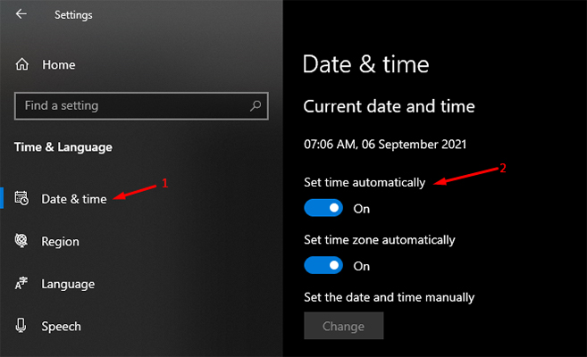 Set time automatically in Windows 10