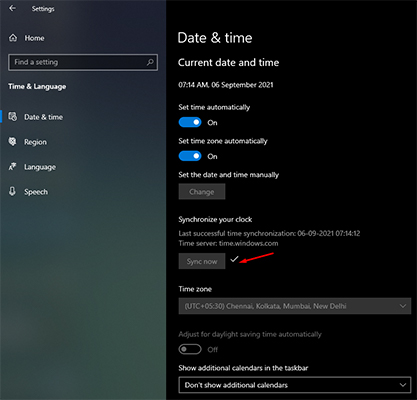 Sync Date and Time on Windows