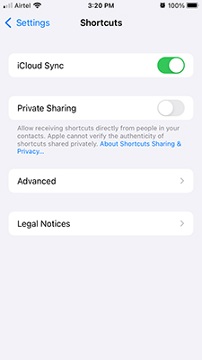 Disable iCloud Sync in Shortcuts