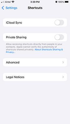 Enable iCloud Sync in Shortcuts