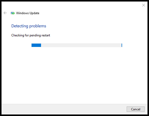 Windows update detecting problems