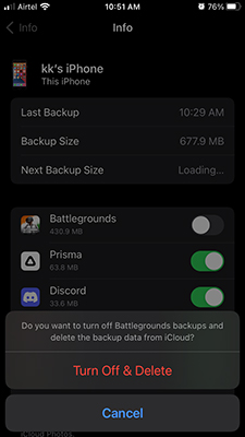 Turn off and delete specific backup on iPhone