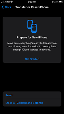 Transfer or Reset iPhone