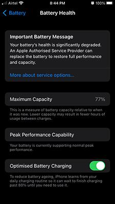 Maximum Capacity of Battery in iPhone